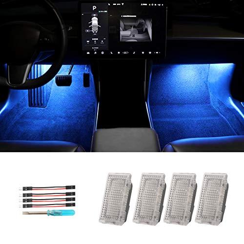 Interior LED Car Light Bulbs Kit,Upgrade Lighting Replacement Compatible Kit Glitter Lamp 4 Pcs for Tesla Model 3 Model Y Model X Model S (Blue)