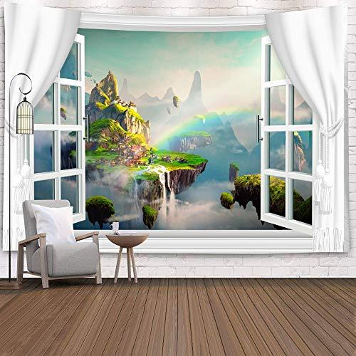 Tapiz de ventana Vista Plantas verdes Flor de mar 3D Manta colgante de pared Colcha Toalla de yoga Decoración de la pared de la playa Tapiz A20 130x150cm