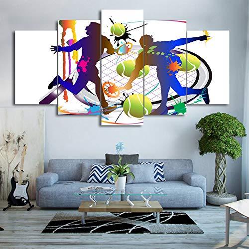GYSS Moderne Leinwand Wohnzimmer Bunte Tennis Sport Hd Wohnkultur Gedruckt Bilder Malerei Wandkunst Modulare Poster 5 Panel 5 malerei