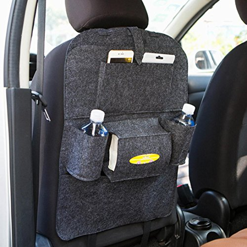 Kolylong Organiseurs pour voiture Siège arrière Multi-poche Sac de rangement Cintre pour la plupart des voitures, camions et SUV, 56cm (Gris fonce)