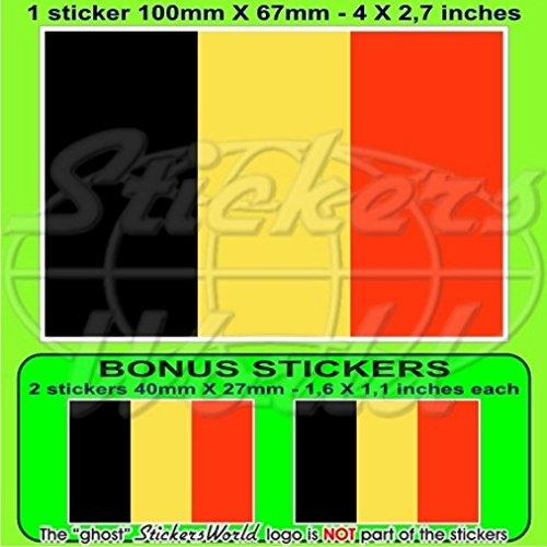 Belgique Belge Drapeau, 100mm Vinyle Autocollant, x1+2 Bonus Stickers