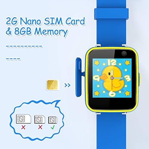 Smartwatch Kinder von AGPTEK, Telefonuhr für kinder mit 5 Spiele, SOS Rekorder Kamera Musik Player Funktion, Für Junge Geburtstag Festival Geschenk, Blau