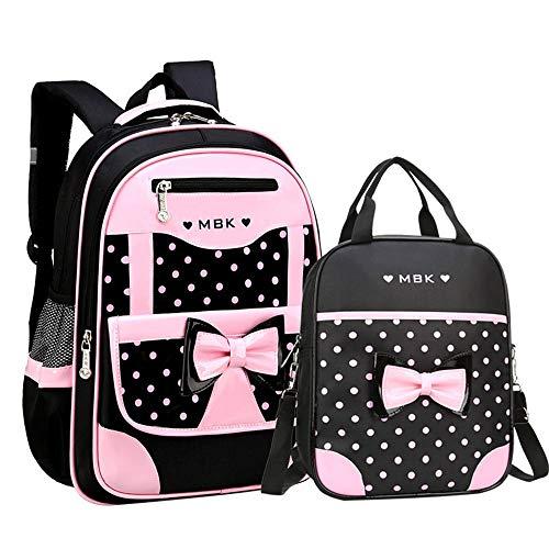 VIDOSCLA 2Pcs Bowknot Wave Point Prints Primary School Bookbag Kids School Backpack Sets for Girls