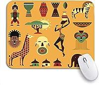 ROSECNY 可愛いマウスパッド アフリカのアフリカのドラム旅行動物音楽楽器マスクノンスリップラバーバッキングマウスパッドノートブックコンピュータマウスマット