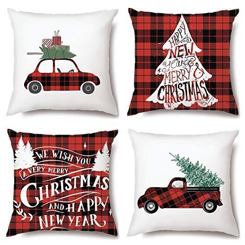 JOTOM Lot de 4 Housse de Coussin Père Noël Bonhomme de Neige Motif Taie d'oreiller pour Canapé Maison Salon Chambre Voiture Décoration 45 x 45 cm (Joyeux Noël)