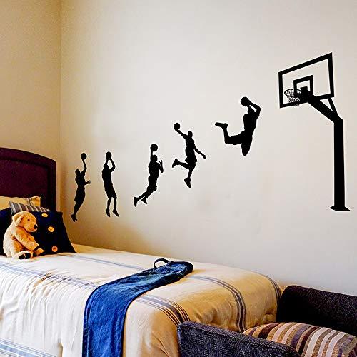 Pdrui Wandtattoo für Schlafzimmer, Werfen Basketball Wandsticker als Wanddekoration für Wohnzimmer Kinderzimmer Wand Fenster Flur 123×203cm Wand Aufkleber | Geschenke für Basketballliebhaber