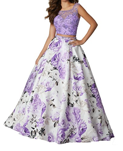 AngelaLove Two Piece Beads Prom Dresses Floral Print Halter Mermaid Long Evening Gowns Paty Dress Lavender