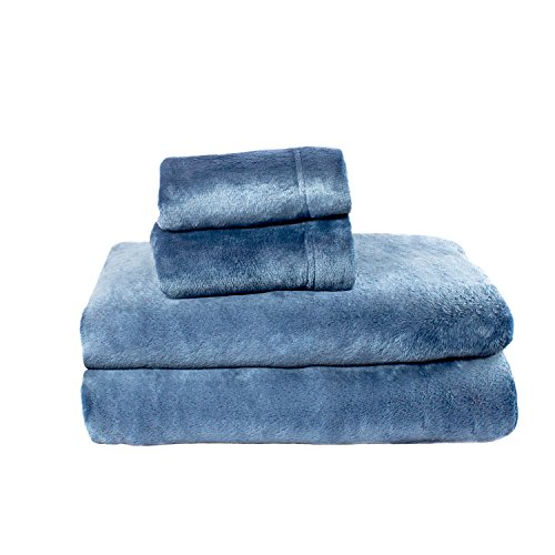 Cozy Fleece Comfort Collection Velvet Plush Sheet Set, Queen, Denim, 1...