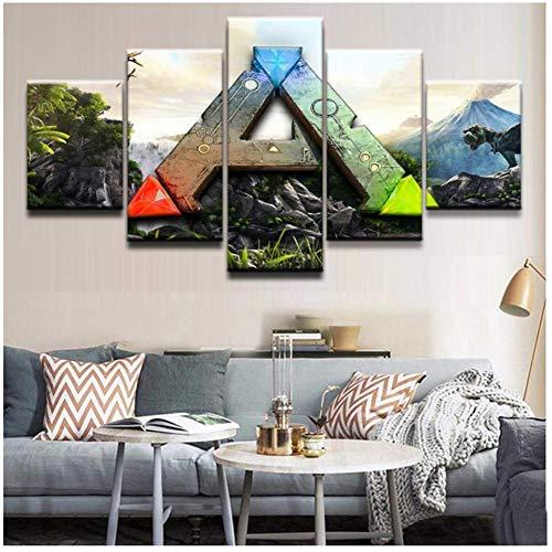 wzgsffs Ark Survival Evolved Art Print Gemälde 5 Stück Leinwand Poster Hd Wandbild für Home Decoration-30X40 30X60 30X80cm No Frame
