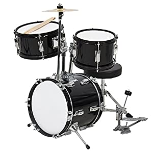 Best Choice Products 3-Piece Kids Beginner Drum Musical Instrument Set w/ Sticks, Cushioned Stool, Drum Pedal - Black