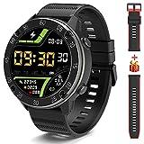 IOWODO X5 Smartwatch, Relojes Inteligentes Hombre - Impermeable IP68   Esfera de Reloj de DIY   Tiempo   Caloría   Pulsometro   Sueño   9 Deportes, Smartwatch Hombre para Android e iOS (2 Correas)