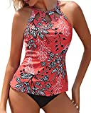 Yonique Red High Neck Tankini Swimsuits for Women Halter Floral Print Bathing Suits Two Piece Swimwear L