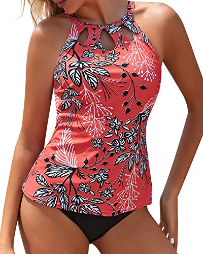 Yonique Red High Neck Tankini Swimsuits for Women Halter Floral Print Bathing Suits Two Piece Swimwear M