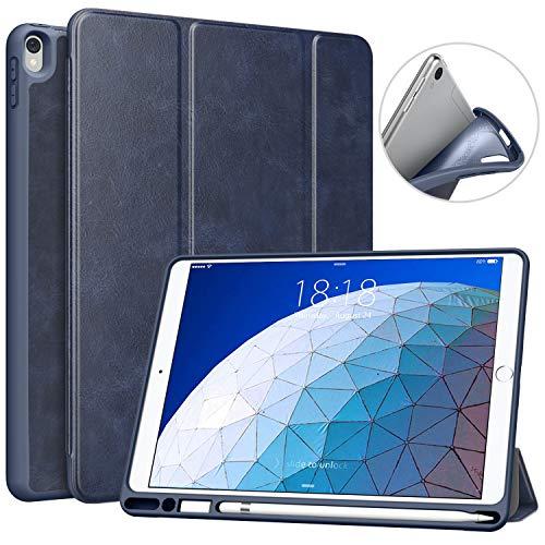 MoKo Funda para iPad Pro 10.5 con Pencil Holder - Ultra Slim Ligera Función de Soporte Protectora Plegable Smart Cover Cubierta Durable (Auto Sueño/Estela) para Pad Pro 10.5 2017, Índigo