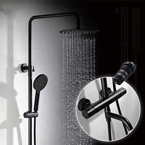 IREANJ Bañera Conjuntos de baño montado en la pared negro ducha todo cobre termostático montado en la pared ducha fijos ducha ducha baño