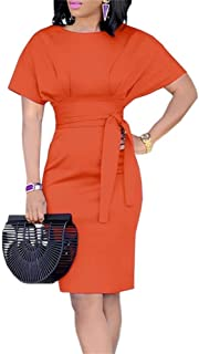 Womens Work Pencil Midi Dress Casual Summer Short Sleeve Bodycon Dresses with Belt