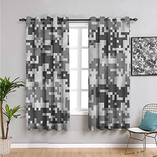 SONGDAYONE - Cortinas de dormitorio con estampado de camuflaje, 160 cm de largo, efecto píxel, color gris digital, para sala de estar o dormitorio, W42 x L63 pulgadas