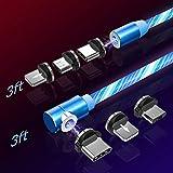 TOPK Magnético Cable Micro USB con LED, [2Pack 1m/1m] Multi 3 en 1 Cable Magnetic de Carga Cargador iman con Adaptador Micro 8Pin USB Tipo C para Phone(Sin Datos de sincronización)
