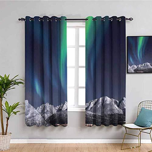 Sky Decor - Cortina para exteriores con imagen solar, color verde y azul oscuro, 108 x 84 pulgadas