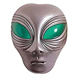 NET TOYS Alien Maske Außerirdischer Kopf Silber UFO Faschingsmaske Space Karnevalsmaske Halloween Alienmaske Intergalaktische Mottoparty Kostüm Zubehör