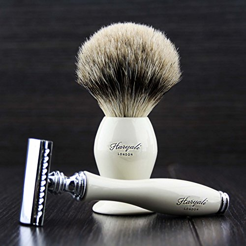 Dubbel Rand Scheermes met Badger Haarborstel Kit