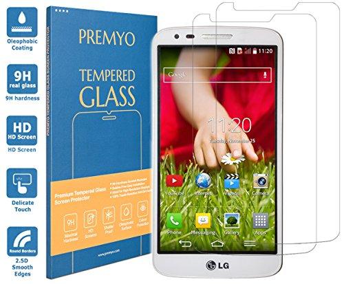 PREMYO 2 Piezas Cristal Templado Protector de Pantalla Compatible con LG G2 Dureza 9H Bordes 2,5D Sin Burbujas contra Arañazos