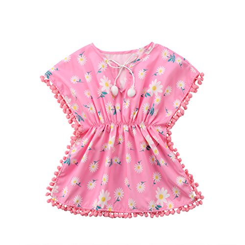 KILUS Vestido de playa para bebés y niñas, estampado de flores, borla con pompón, cuello redondo, funda de baño de 6 meses a 5 años