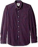 Amazon Brand - Goodthreads Men's Slim-Fit Long-Sleeve Plaid Poplin Shirt, Navy red, Large