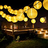 Guirnaldas de Luces Solar Jardín LED, BrizLabs 6m 30 LED Farolillos Solares Exterior Impermeable IP65 Guirnalda Luces Decoración Interior Luz para Terraza Patio Fiesta Boda Casa Navidad, Blanco Cálido