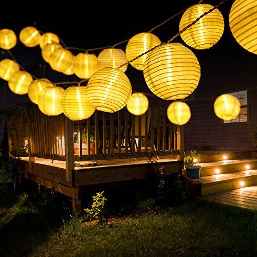 Catena Luminosa Esterno Solare Giardino Luci BrizLabs 6m 30 LED Lanterne Solari Stringa di Luci Impermeabile Catene Lucine Decorative Lanternine per Natale Cortile Patio Feste, Bianco Caldo