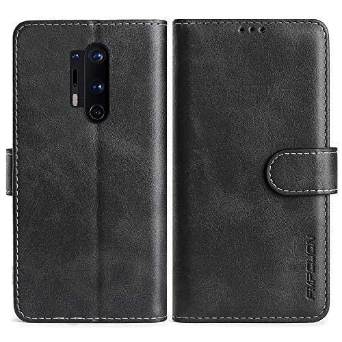FMPCUON Handyhülle für OnePlus 8 Pro Hülle Leder,Premium Klapphülle Handytasche Flip Hülle Handy Hüllen Schutzhülle für OnePlus 8 Pro,Schwarz