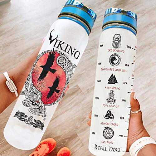 Bestwe Botella de agua de corvo vikingo, botella de agua de Tritan, con marcas de tiempo, ligera, para deportes, fitness, exterior, senderismo, color blanco, 1000 ml