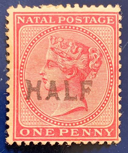Natal Postage Stamp 1800's Queen Victoria One Penny Half Overprint