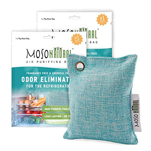MOSO NATURAL: The Original Air Purifying Bag for Fridge and Freezer. an Unscented, Chemical-Free Odor Eliminator. More Powerful Than Baking Soda. 2 Pack (Blue)
