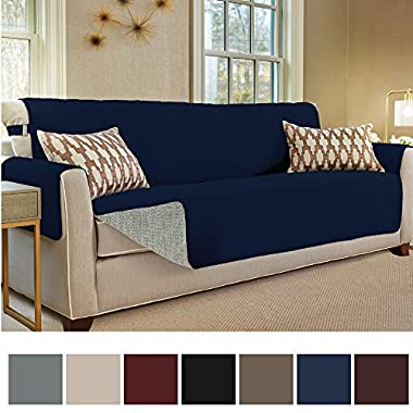 Gorilla Grip Original Slip-Resistant Furniture Protector, Suede-Like Material, Slip Reducing Backing, Perfect for Kids, Dogs, Cats, Pets, Sofa and Couch Protection (Oversize Sofa: Navy)