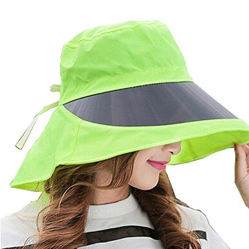 extérieur réglable Large Bord Capuchons de Protection UV avec lentille, Femme, Green