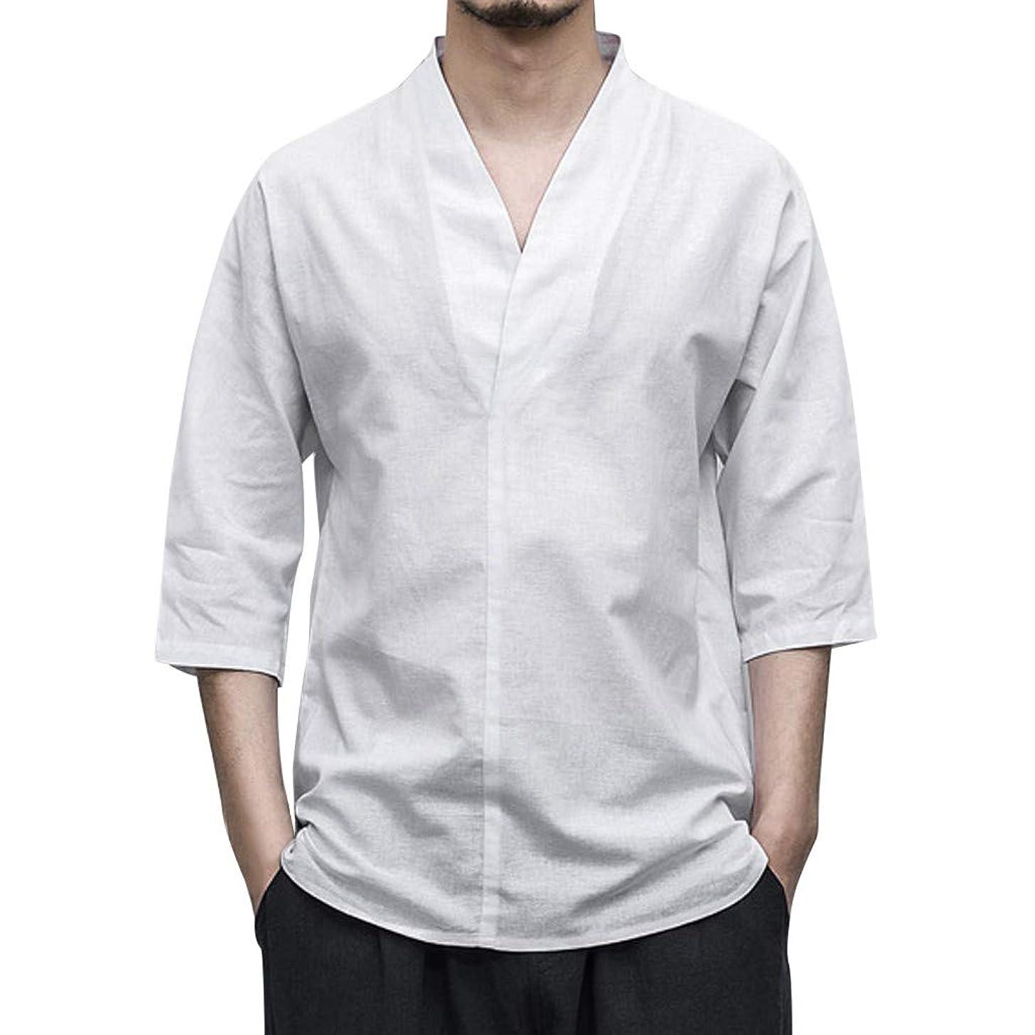 Ghazzi Men Top Linen Cotton Shirt 3/4 Sleeve Solid Color Loose V Neck Blouse T-Shirt
