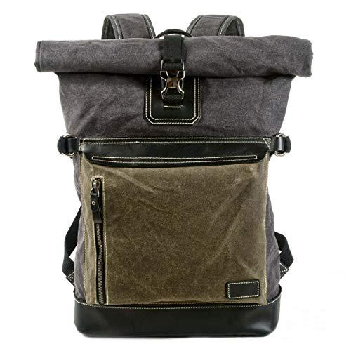 VZVABAG Sac à dos Roll Top Daypack Vintage imperméable en toile & cuir Unisexe Sac à dos de coursier Randonnée Voyage école Sac à dos