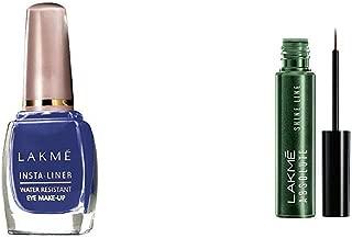 Lakmé Insta Eye Liner, Blue, 9 ml & Lakmé Absolute Shine Line Eye Liner, Sparkling Olive, 4.5 ml