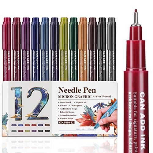 Emooqi Fineliner, Penne Fineliner Pennarelli Punta fine 12 Colori Penna a Punta Fine 0,5mm per Scrivere Colorare per Mandala, Bullet Jurnal, Planner, Manga