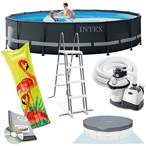 Intex Ultra Frame Swimming Pool 488x122 cm Schwimmbecken Stahlrahmen 26326 Komplett-Set mit Extra-Zubehör