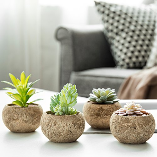MyGift Miniature Assorted Artificial Succulent Plants in Cement Grey Pots, Set of 4 (Assortment 1)