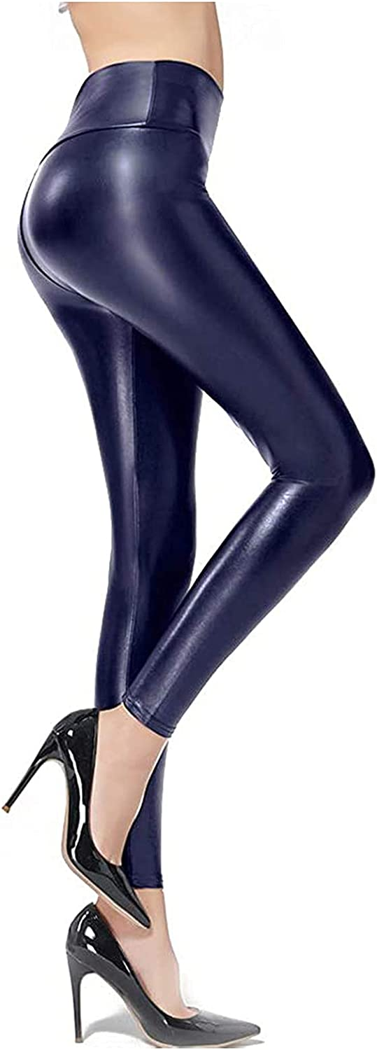 Faux Leather Leggings Pants for Women Plus Size Sexy High Waiste