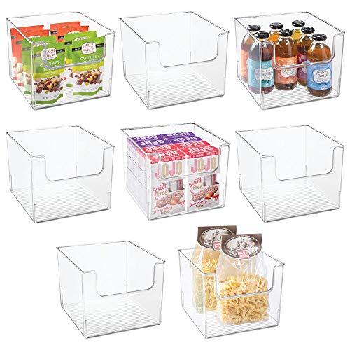 MDESIGN 8er-Set Aufbewahrungsbox für Lebensmittel – Küchen Ablage mit offener Vorderseite für Kühlschrank, Schrankfach oder Gefriertruhe – Kühlschrankbox aus BPA-freiem Kunststoff – durchsichtig