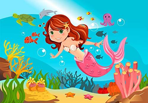 wandmotiv24 Fototapete Kindertimmer Meerjungfrau Unterwasser XL 350 x 245 cm - 7 Teile Fototapeten, Wandbild, Motivtapeten, Vlies-Tapeten Meer, Fische, Comic, Kinder M0318