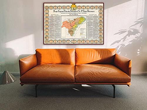 MG global Mapa de los vinos de Alicante, Vinos de Alicante España, Mapa del vino español, Mapa del cartel español, Mapa de la pared de los vinos españoles, Regalos del vino, Arte del mapa de Alicante