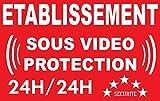 Sign établissement sous vidéo 24/24 protection - 24-hour video security (French text only)