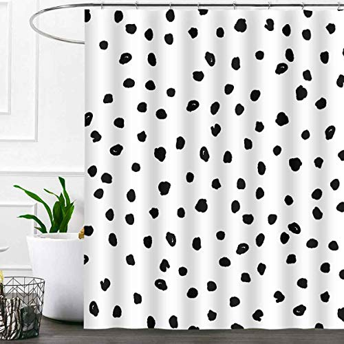 SDDSER Dalmatian Spots Shower Curtain Sets, Puppy Print Black White Bathroom Curtains, 72x72 inch with 12 Free Hooks, YLLSSD2492