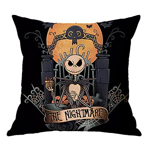 SHUAIHE Juego de 4 fundas de almohada de Halloween, funda de cojín de lino Happy Halloween, adecuado para dormitorio y sala de estar, sofá cama, decoración de Halloween (45 cm x 45 cm), 5,45 x 45 cm