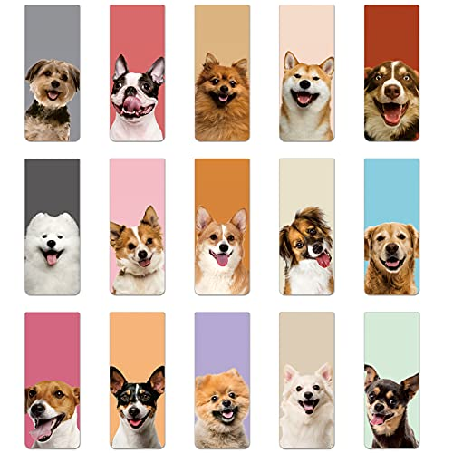 30 Pieces Magnetic Bookmarks Cute Dogs Magnetic Page Markers Pet Magnetic Page Clips Puppy Faces Bookmark for Students Teachers School Home Office Reading Stationery, 15 Designs